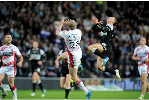 SPORT with James story 9-5-14 Hull FC's Jamie Shaul goes high to take a ball during their Super League match against Wigan at the KC Stadium. Picture: Simon Renilson