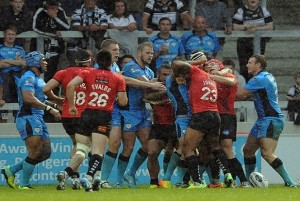 Super League XIX Salford v Hull FC. Tempers Flaire