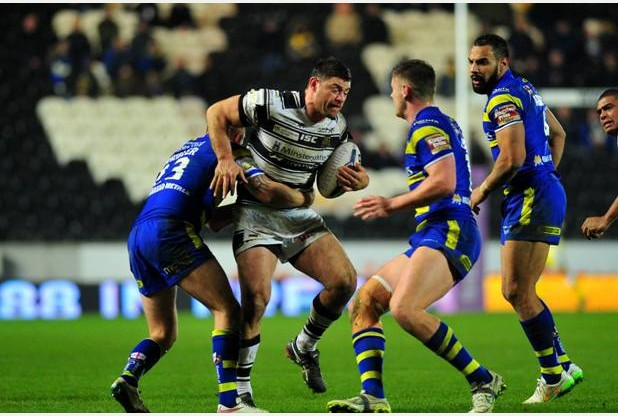Sport for James Smailes - 13-2-15first:utility super league game between Hull FC and Warrington Wolves at the KC Stadium, Hull.Pictured is Mark Minichiello.Final score Hull 6 - Warrington 7   Picture: Peter Harbour