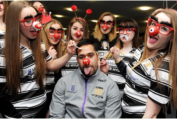 NEWS with Ben story 5-3-15 The Hull FC cheer squad, Airlies's Angels/DWS clown around with Hull FC's Setaimata Sa for Red Nose day before the Leeds match at the KC Stadium. Picture: Simon Renilson **WITH VIDEO** Prints can be ordered at www.thisisphotosales.co.uk/hullandeastriding or telephone 08444 060 910