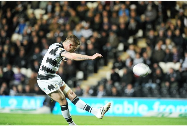 SPORT with James story 1-5-15 Hull FC's Marc Sneyd kicks a goal during their Super League match against the Salford Red Devils at the KC Stadium. Picture: Simon Renilson
