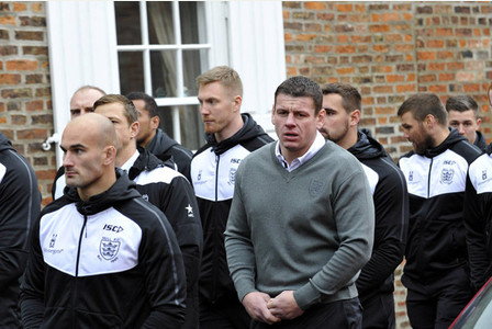 NEWS 27.11.15 - The funeral of Brad Parker was held at Burton Pidsea Church. Family and friends follow the coffin that arrived on horse drawn carriage. Hull FC first team squad with coach Lee Radford.. Picture: Jack Harland Prints can be ordered from www.thisisphotosales.co.uk/hullandeastriding or telephone 08444 060 910