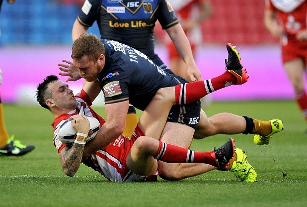 Salford. Salford Red Devils v Hull FC in the First Utility Super League round 23 clash at the AJ Bell Stadium on Friday 22nd July 2016. Gareth O`Brien of Salford Red Devils is tackled by Scott Taylor of Hull FC during the Salford Red Devils v Hull FC First Utility Super League round 23 clash. MANDATORY CREDIT: Ste Jones / RLPIX.COM For editorial use only. Copyright remains property of rlpix.com